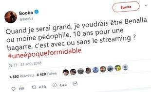 Tweet posté sur le compte de Booba, le 21 août 2018.