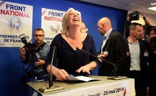 Marine Le Pen le 25 mai 2014 au siège du FN.