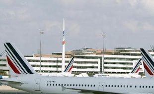 Des avions Air France stationnés sur le tarmac de l'aéroport de Roissy-Charles de Gaulle, au nord de Paris, le 15 septembre 2014