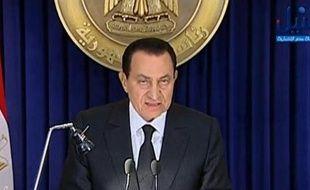 Hosni Moubarak dans une invervention télévisée diffusée le 28 janvier 2011.