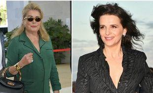 Les actrices françaises Catherine Deneuve et Juliette Binoche. (Montage)