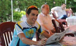 Le coureur espagnol Alberto Contador, lors de la journée de repos du Tour de France à Verbier, le 20 juillet 2009.