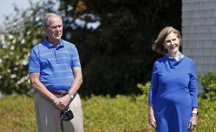 George W. et Laura Bush, le 21 août 2020 dans le Maine.