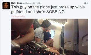 Une rupture amoureuse a été live-tweetée dans un avion aux Etats-Unis, passionnant des milliers d'internautes.