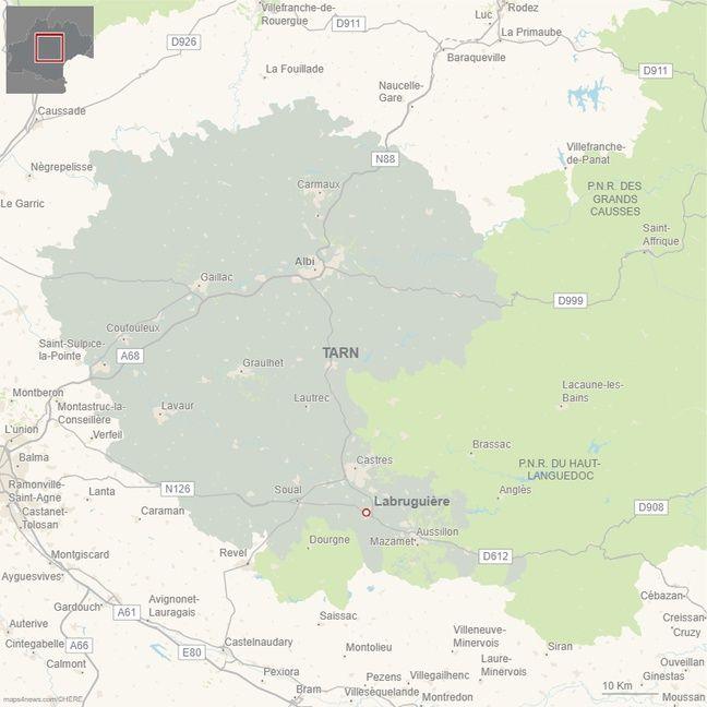 La commune de Labruguière se situe au sud de Castres, dans le Tarn.