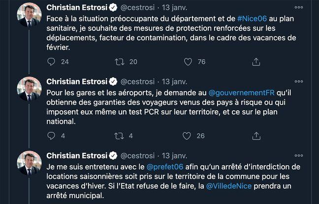 Tweets de Christian Estrosi le 13 janvier 2021 sur les locations saisonnières.