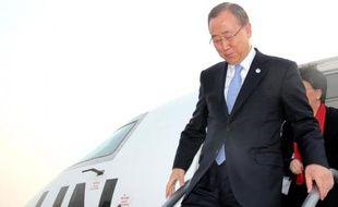 Le secrétaire général de l'ONU Ban Ki-Moon arrive à Conakry le 20 décembre 2014