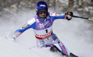 Le skieur français Jean-Baptiste Grange, lors du slalom des championnats du monde de Val d'Isère, le 15 février 2009.