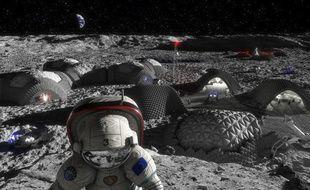 Un visuel des projets de la future base d'exploration sur la Lune.