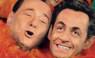 La campagne de publicité pour la Fête de la reine à Amsterdam, avec Silvio Berlusconi et Nicolas Sarkozy.