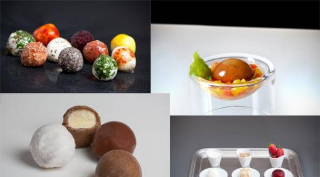 Wikifromage, Wikigaspacho, Wikiglace et Wikiyoghourt, les emballages comestibles inventés par David Edwards. – DR