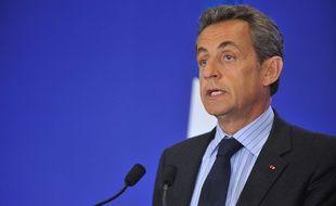Nicolas Sarkozy au siège de l'UMP à Paris le 7 janvier 2015.