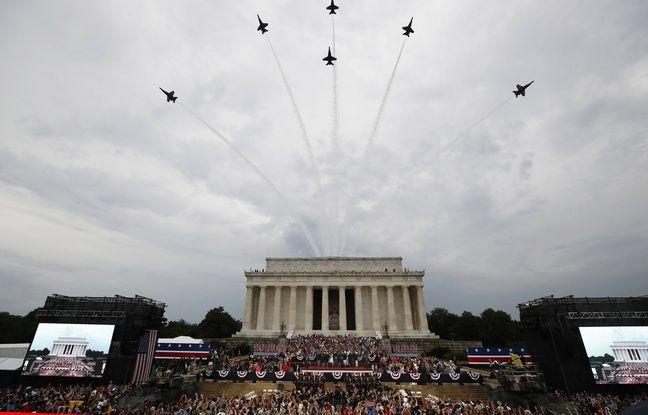 Sous la pluie, Donald Trump joue la carte du patriotisme et de l'unité pour la fête nationale