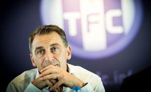 Le président du TFC Olivier Sadran en conférence de presse, le 1er juillet 2014 au Stadium de Toulouse.