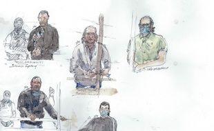 Croquis de plusieurs accusés au procès des attentats de janvier 2015.