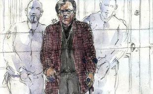 Croquis d'audience montrant le médecin allemand Dieter Krombach lors de son procès à Paris le 29 mars 2011