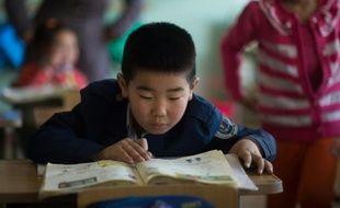 Des écoliers dans une salle de classe, le 13 février 2015 à Altanbulag, en Mongolie