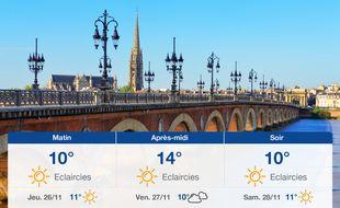 Météo Bordeaux: Prévisions du mercredi 25 novembre 2020