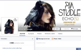 Capture d'écran de la page Facebook de Pia Studlé