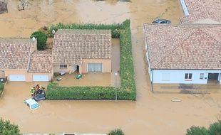 Un quartier inondé à Béziers, ce mercredi.
