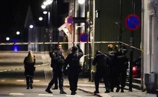 Des policiers déployés à Kongsberg, en Norvège, après une attaque par un homme armé d'un arc qui a fait plusieurs morts, le 13 octobre 2021.