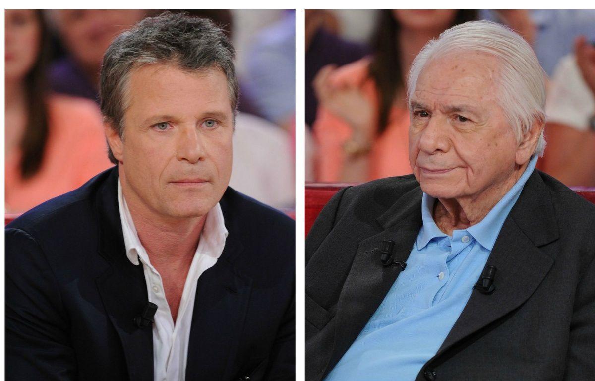 Eric Reynaud-Fourton et Michel Galabru sur le tournage de «Vivement Dimanche», en avril 2015. –  PJB/SIPA