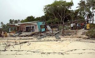 L'île de Lifou, dans les îles Loyauté en Nouvelle Calédonie, le 13 janvier 2011 après le passage du cyclone Vania.