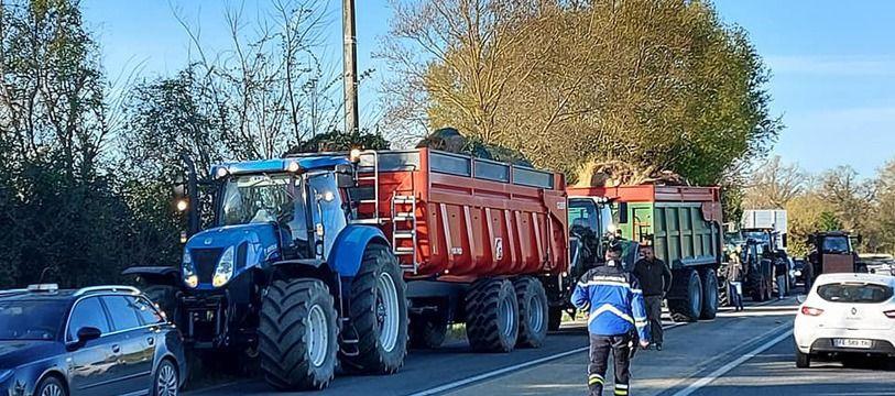 Lors de la manifestation des agriculteurs, jeudi matin, à l'appel de la FDSEA 31 et des JA 31.