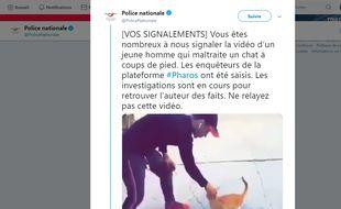 La vidéo d'un homme maltraitant un chat a été signalée à la police par des internautes.