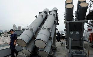 Des lanceurs de missiles Harpoon sur un navire américain en 2012 (illustration).