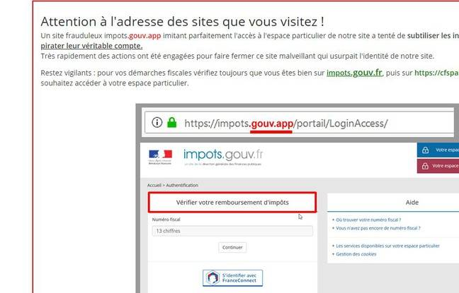 Impôts: Un faux site Internet pour le remboursement permettait de voler vos coordonnées bancaires