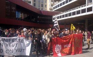La manifestation contre la loi Travail ici dalle du Colombier à Rennes, le 12 avril 2016.