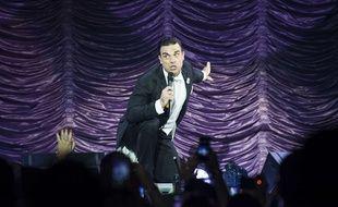 Le chanteur britannique Robbie Williams sur scène à Londres en juillet 2014.