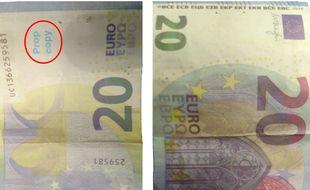 """Ces faux billets portent la mention """"prop copy""""."""