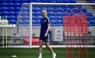 Ada Hegerberg, ici lors d'un entraînement au Parc OL en juin 2020, peu avant d'être opérée d'une fracture du tibia gauche.