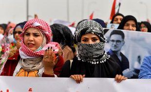 Des Irakiennes protestent contre le gouvernement dans la ville sainte de Najaf, le 19 février 2020.