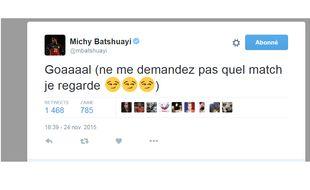 Le tweet de Michy Batshuayi pendant le match entre Lyon et La Gantoise