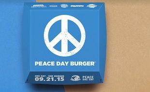 La boîte d'un «Peace day burger», imaginée par Burger King.