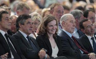 Nicolas Sarkozy, François Fillon, Nathalie Kosciusko-Morizet et Charles Pasqua lors du congrès fondateur des Républicains le 30 mai 2015 à Paris