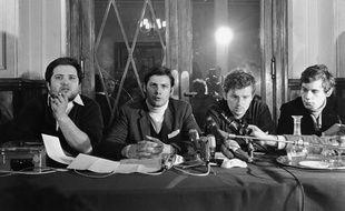 Alain Geismar, Jacques Sauvageot et Daniel Cohn-Bendit, le 11 mai 1968.