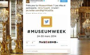 Capture d'écran du compte Twitter du Château de Versailles