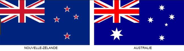 Les drapeaux de la Nouvelle-Zélande et de l'Australie