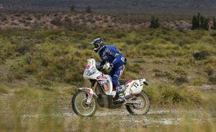 Le motard français David Frétigné lors de la 3e étape du Dakar 2009.