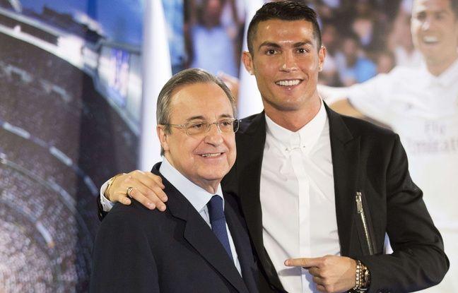 Florentino Perez et Cristiano Ronaldo à l'occasion de la signature du nouveau contrat du Portugais, le 7 novembre 2016.
