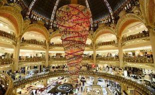 Le grand magasin Galeries Lafayette à Paris décoré pour les fêtes, le 5 novembre 2014