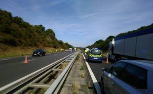 Image de l'accident survenu dimanche 16 septembre 2018 entre Plaintel et Saint-Brieuc.