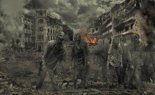 Une scène de chaos avec des zombies. Illustration.