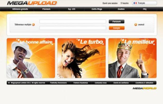La page d'accueil du site d'hébergement de fichiers MegaUpload.