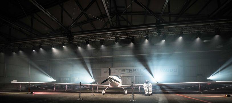 Présentation de l'avion solaire SolarStratos à Payerne, en Suisse le 21 novembre 2016.