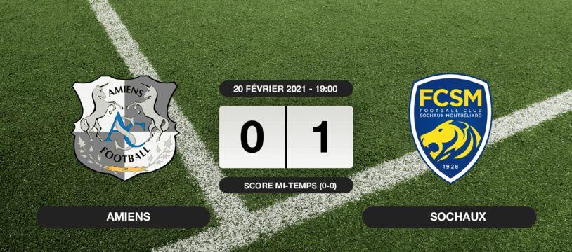Ligue 2, 26ème journée: Sochaux vainqueur d'Amiens 1 à 0 au stade de la Licorne